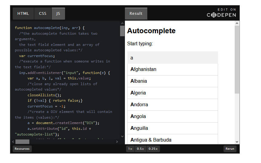 How to Create an AutoComplete Form using HTML,  CSS and Java Script