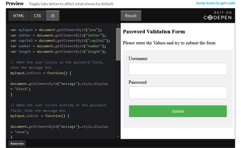 How to create a Password Validation Form with CSS and JavaScript.