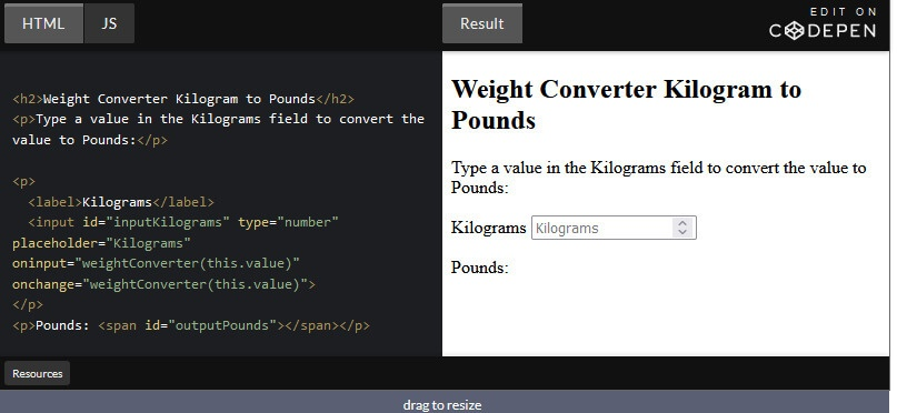 How to Create Weight Converter using HTML and JavaScript