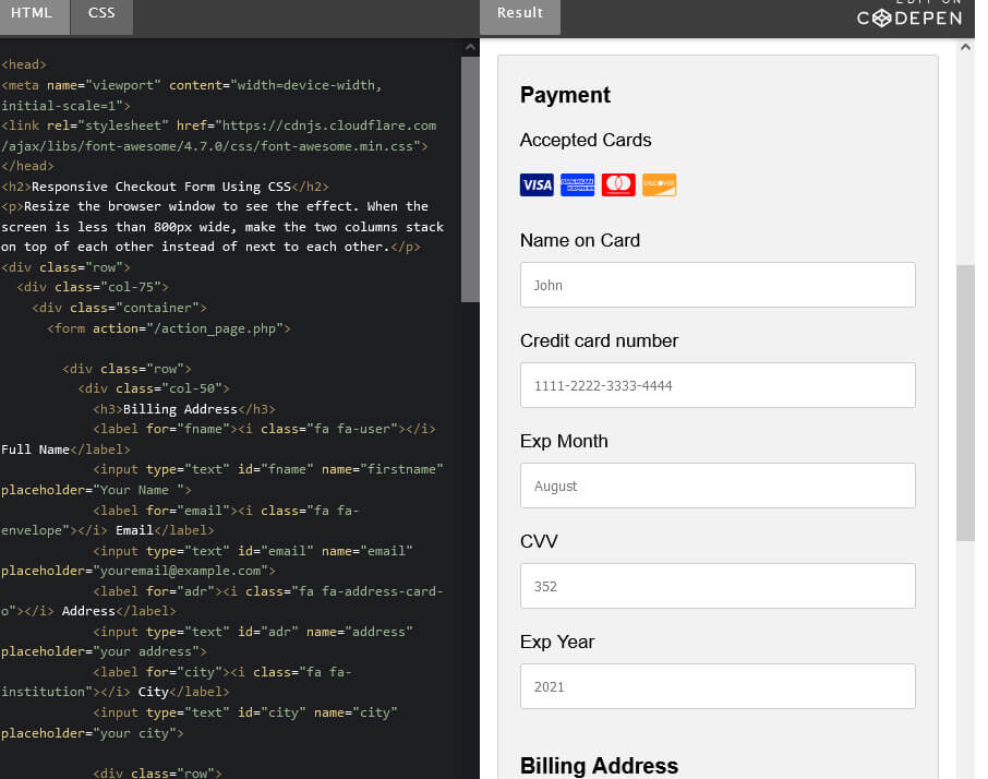 How to Create a Responsive Checkout form with CSS