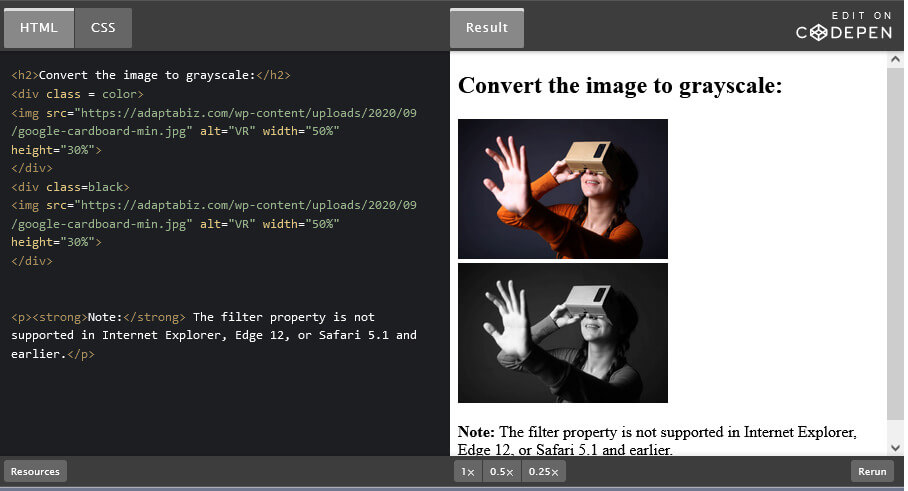 How to Convert Color image to Black & White using CSS Filter ( Color to Grayscale)