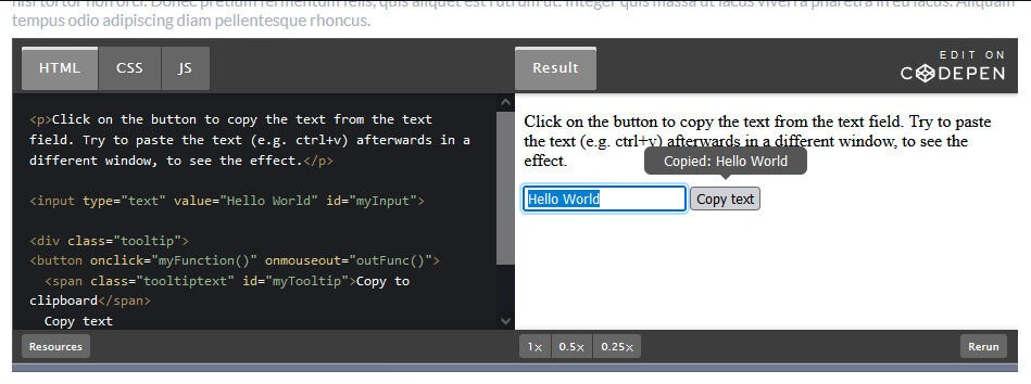 How to copy text to the clipboard with JavaScript