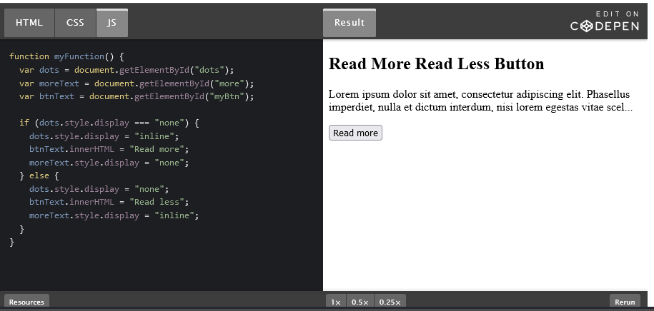 """How to Create a """"Read More – Read Less"""" button with JavaScript."""