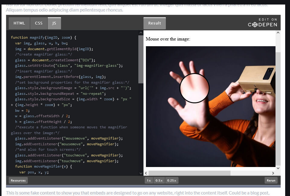 How to create an image magnifier glass using JavaScript and CSS